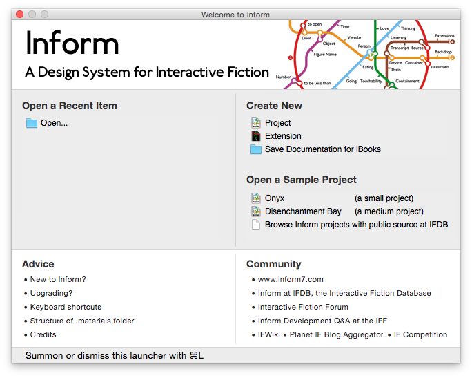 Accueil d'Inform 7 sur macOS