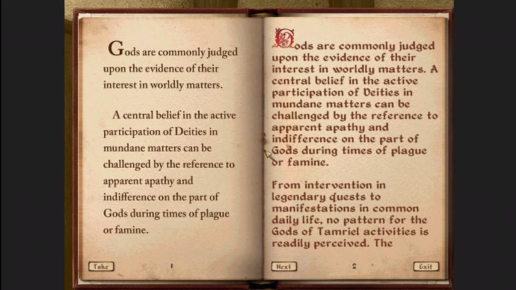 Une page du jeu tirée de The Elder Scrolls IV: Oblivion, ainsi que la même page avec une présentation plus lisible faite par Joseph Humphrey.