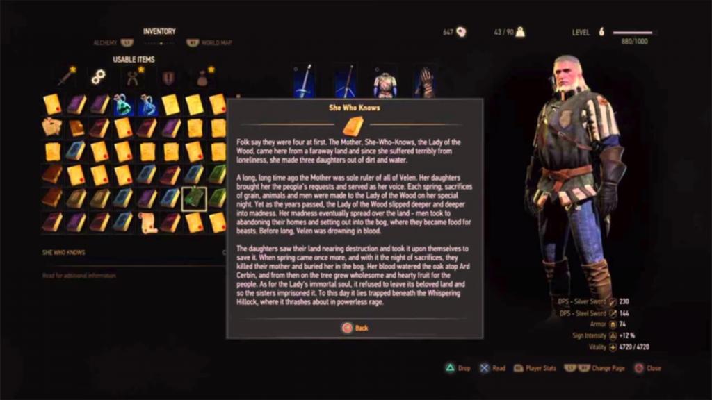 L'écran d'inventaire de The Witcher, avec le texte dans une fenêtre avec beaucoup d'images et d'éléments distrayants en fond.
