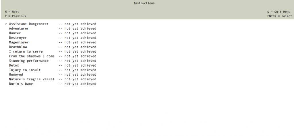 Capture d'écran de Kerkerkruip montrant la liste des succès.