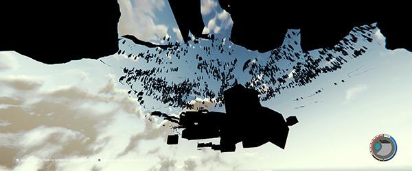 Capture d'écran du bug dans The Forest, où le personnage est passé sous le sol.