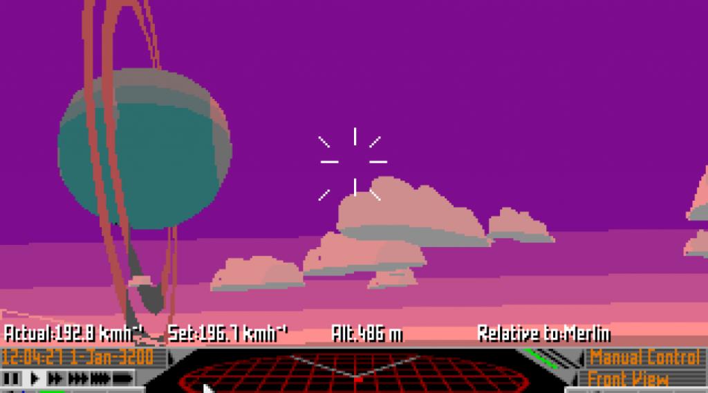 Capture d'écran d'Elite II, où l'on voit un tableau de bord, une planète et des nuages.