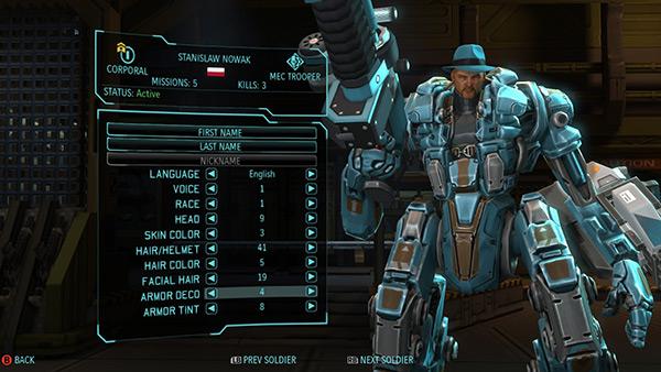 Écran de personnalisation du personnage dans le jeu XCOM 2.