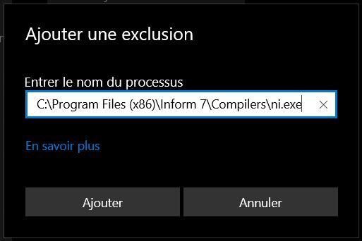 Champ pour entrer une exclusion dans Sécurité Windows.