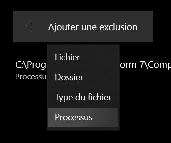 Menu dans Sécurité Windows permettant d'ajouter un processus en exclusion.