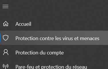 Élément à cliquer dans le menu de Sécurité Windowsé