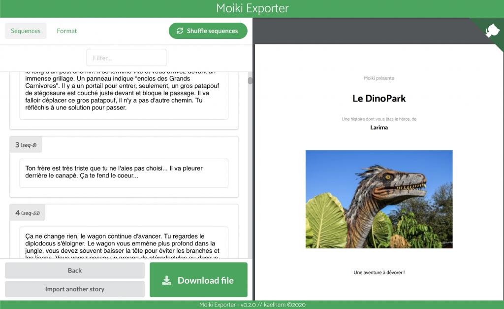 Capture d'écran de Moiki-Exporter.