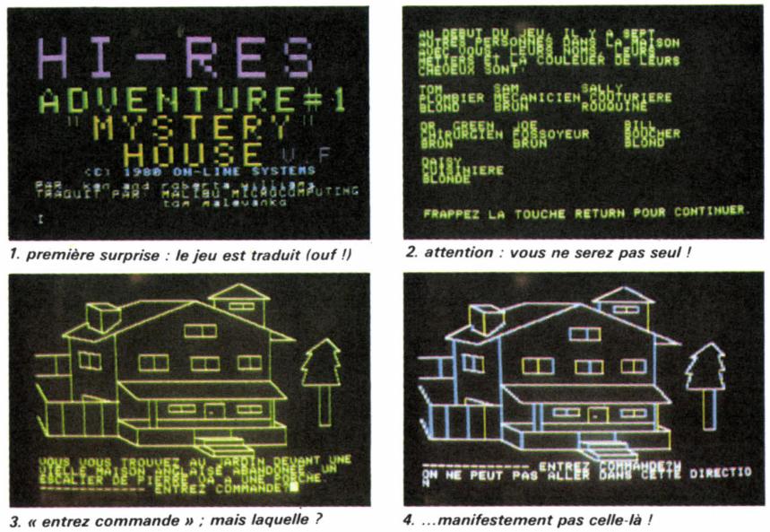 Captures d'écran de la version française de Myatery House, présentes dans le magazine Jeux & Stratégie.