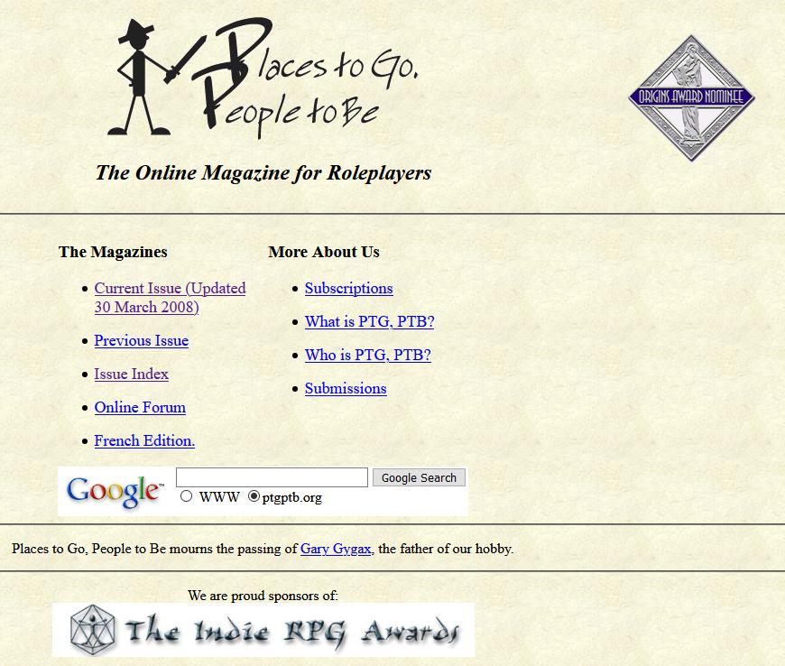 Capture d'écran du site  PTGPTB.
