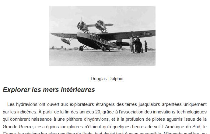 Extrait de l'article sur l'aviation des années 30.