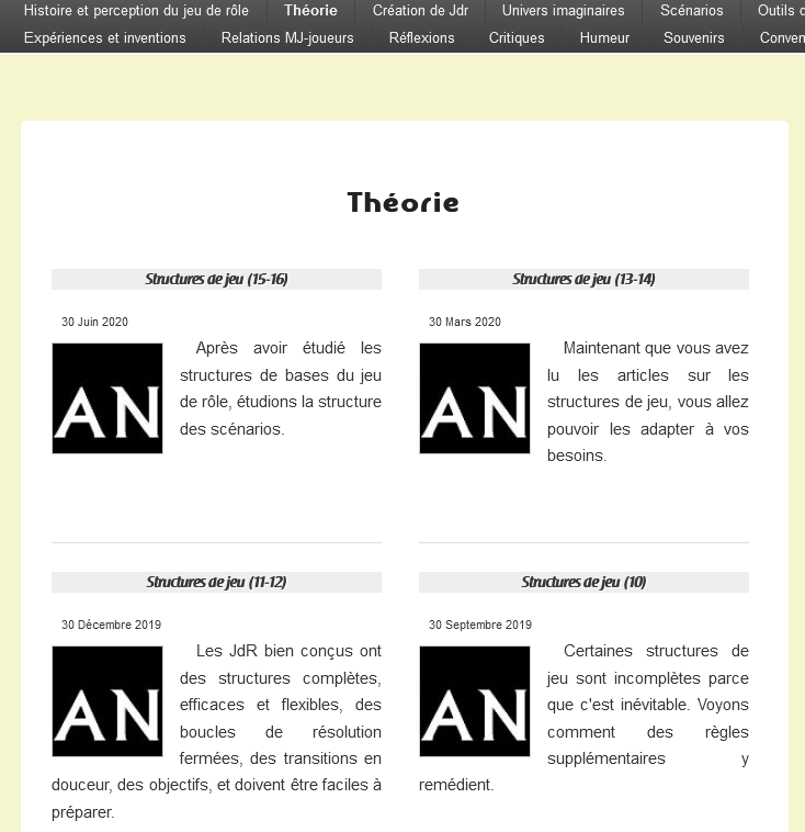 Capture d'écran de la catégorie «théorie» sur PTGPTB.