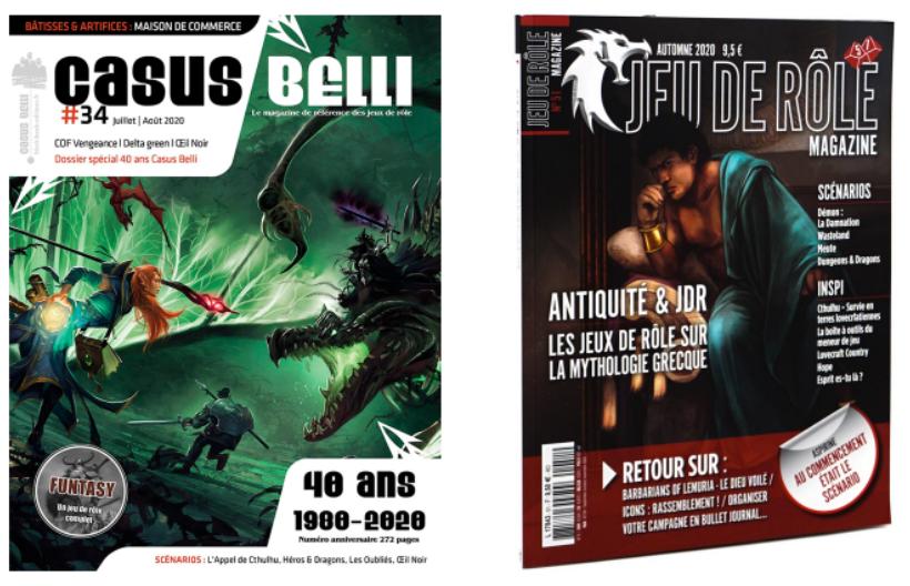 Deux couvertures des magazines Casus Belli et JDR Mag.