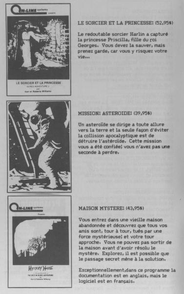 Page du catalogue Computerre montrant les jeux Le Sorcier et la princesse, Mission: Astéroïde et Maison Mystère.