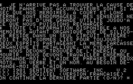 Capture d'écran de Cyborg. L'écran est rempli par du texte.