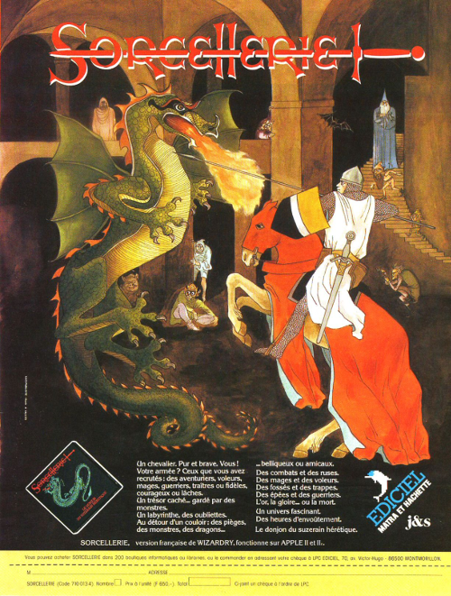 Jaquette de Sorcellerie, où est dessiné un chevalier chargeant sur un dragon.