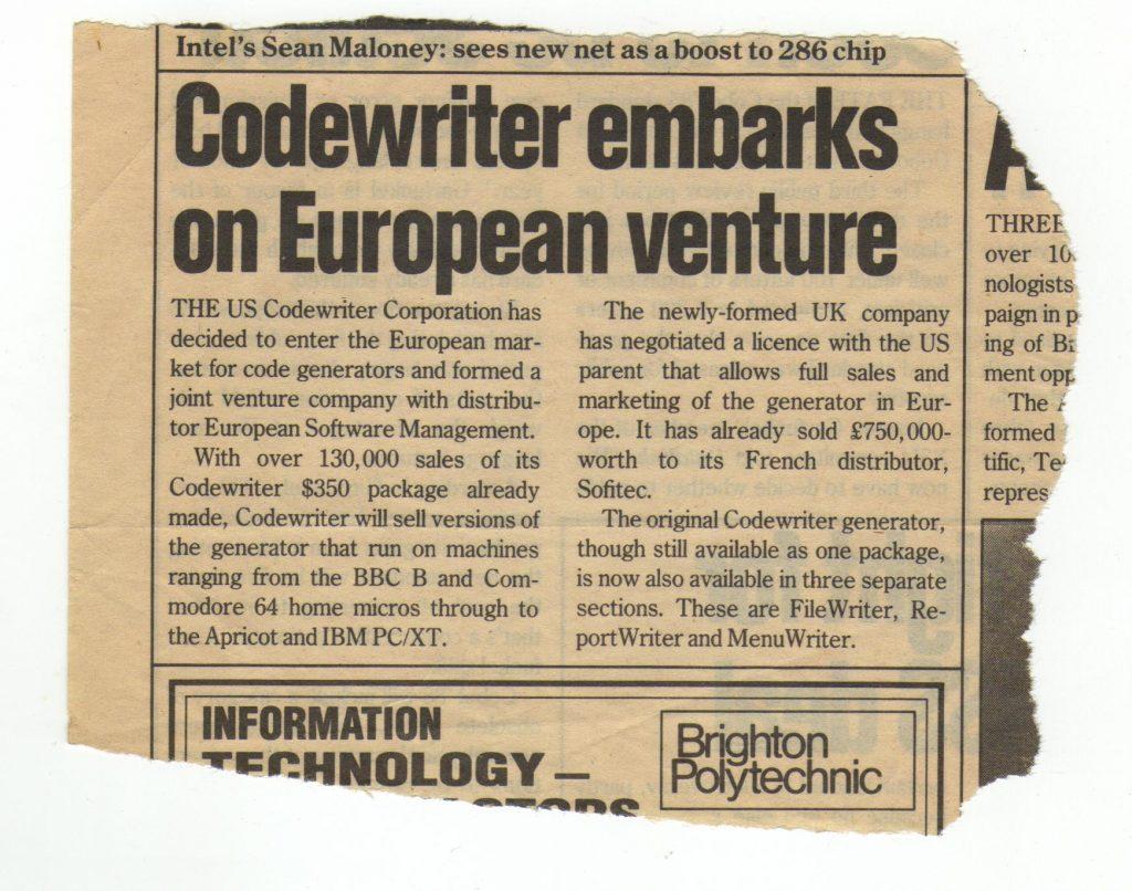 Coupure de journal anglaise parlant de la venue de CodeWriter en Europe.