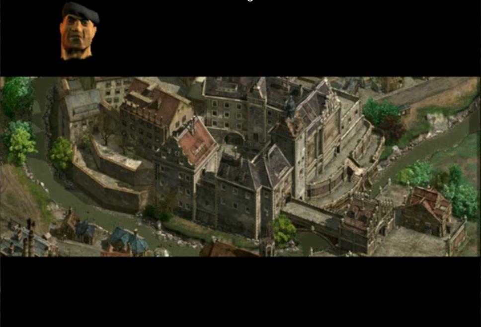Capture d'écran de Commandos 2, montrant le château de Colditz.
