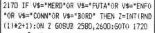 Scan de la ligne de code gérant les gros mots.