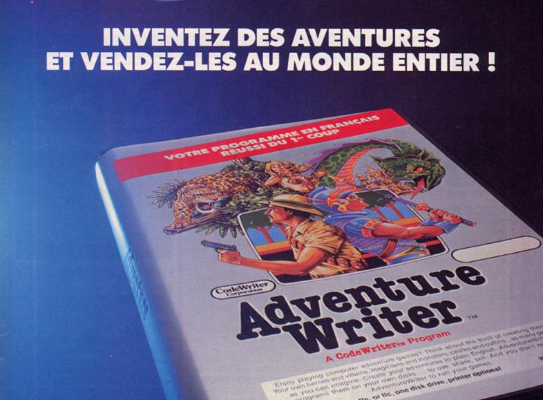 Publicité française pour AdventureWriter, avec une photo de la boîte et annonçant: «Inventez des aventureset vendez-les au monde entier!»