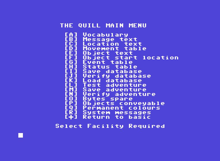 Capture d'écran de The Quill, listant les différentes options du logiciel.