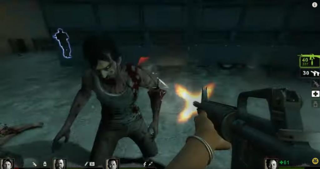 Capture d'écran de Left 4 Dead, avec le joueur tirant sur un zombie.