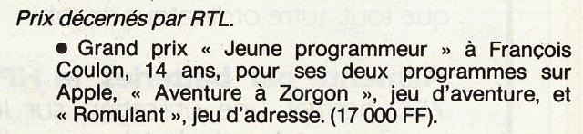 Coupur de RTL, indiquant que François Coulon a gagné, à 14 ans, le grand prix «Jeune programmeur».